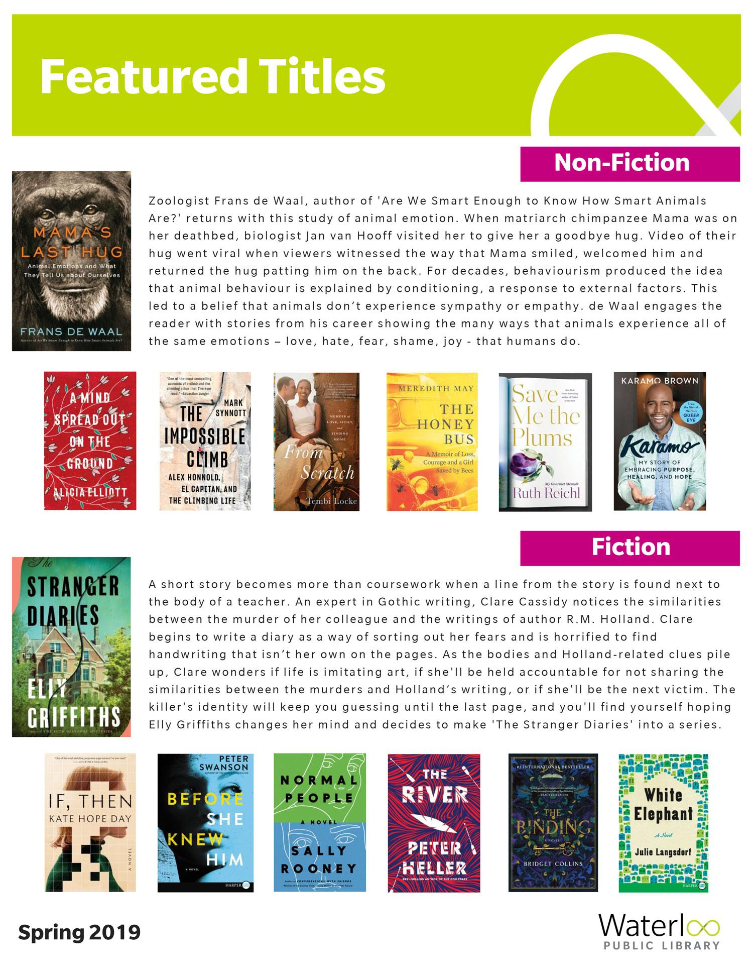 14 titles selected for the Featured Titles List - Spring 2019